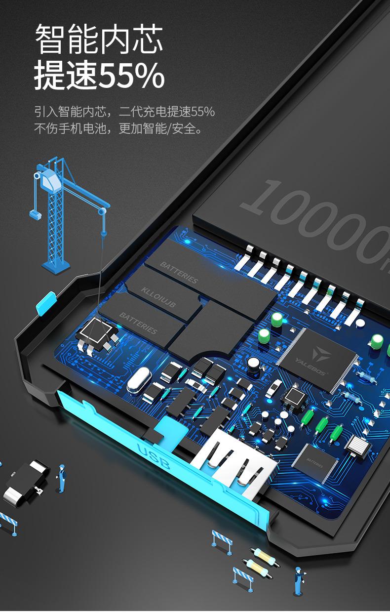 艾可优 太阳能充电宝智能手机便携移动电源防水多功能户外通用10000