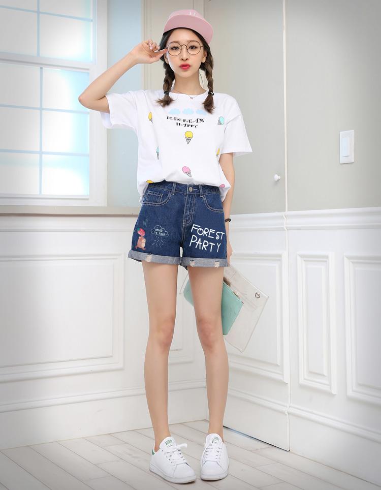 韩都衣舍2017韩版女装夏装新款印花显瘦磨破牛仔短裤