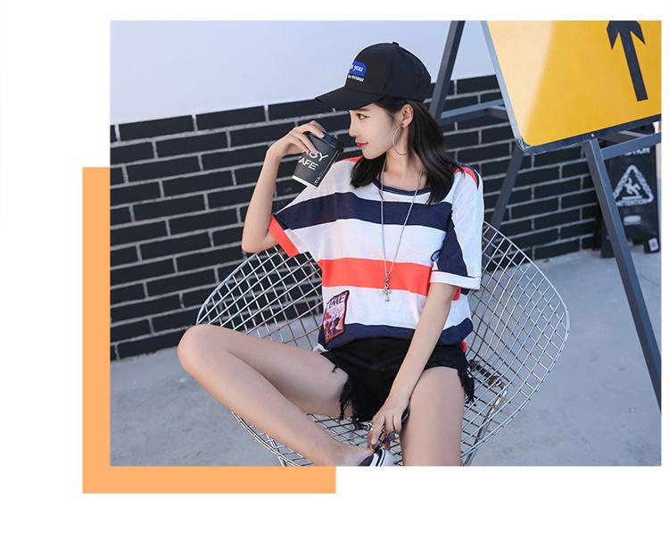 绮娑 2018夏季新款宽松撞色彩条贴布刺绣短袖女T恤 M 图片色 虹领巾
