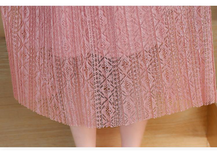 ����XXy�-yol_镂空蕾丝连衣裙淑女圆领长袖ol气质收腰打底a字裙潮582845xxy-l-粉色