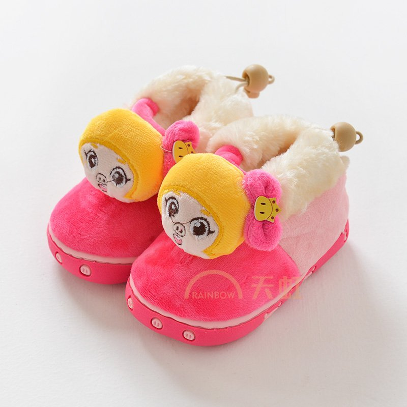 猪猪侠冬季卡通保暖可爱男女宝宝居家 居防水防滑儿童加绒加厚棉鞋