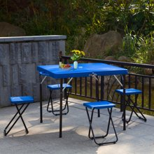 【户外野餐桌 餐桌椅 小饭桌】雅客集折叠便捷式一桌四椅蓝色PA-15027
