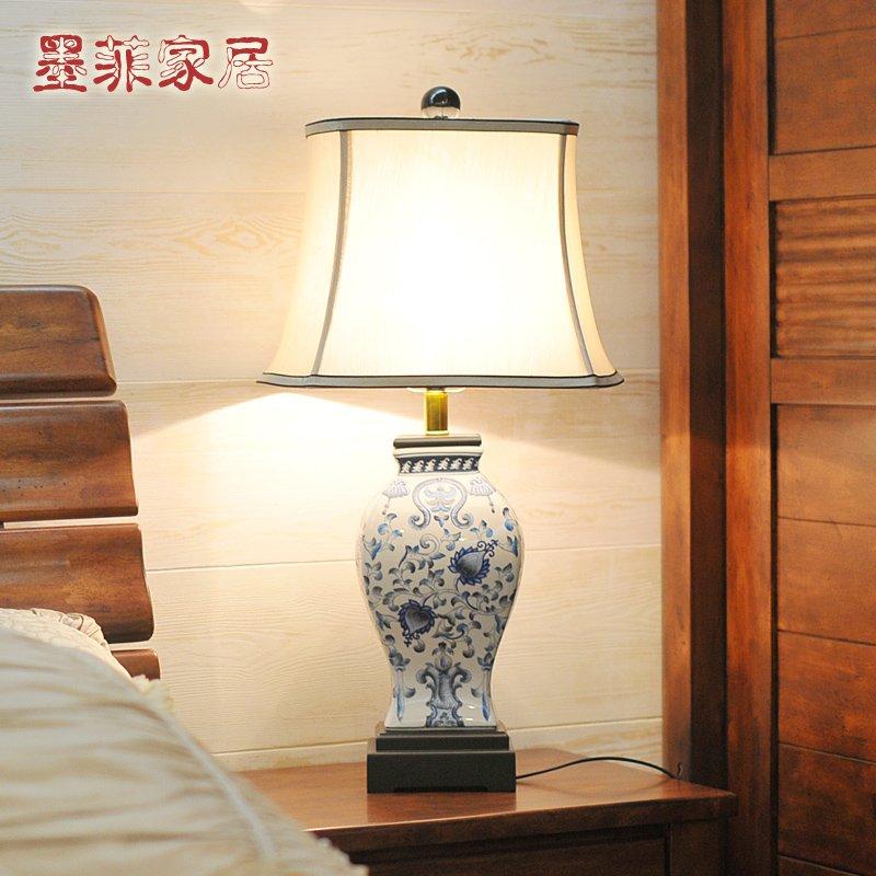 中式台灯现代古典家居欧式创意卧室床头陶瓷手绘装饰台灯小号-其他