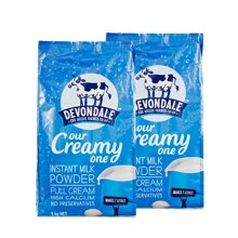 【2包装】Devondale德运成人高钙营养奶粉 孕妇儿童老人奶粉 全脂 1kg/包