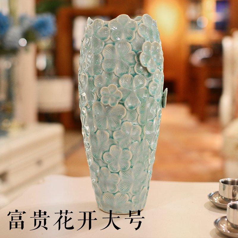 大号手工欧式冰裂釉陶瓷干花瓶图片