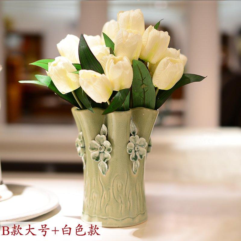 墨菲欧式手工陶瓷花瓶 摆件家居装饰品客厅简约田园清新花艺套装-绿色花瓶大号+3束大白郁金香【价格 评价 图片】- - 虹领巾