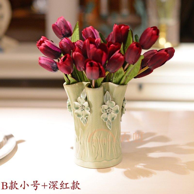 墨菲欧式手工陶瓷花瓶 摆件家居装饰品客厅简约田园清新花艺套装-绿色