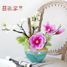 新中式陶瓷花瓶美式蝴蝶兰仿真花艺套装客厅样板房家居软装饰品