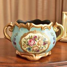 墨菲美式复古陶瓷花瓶装饰花盆摆件欧式餐桌客厅仿真干花艺插花器