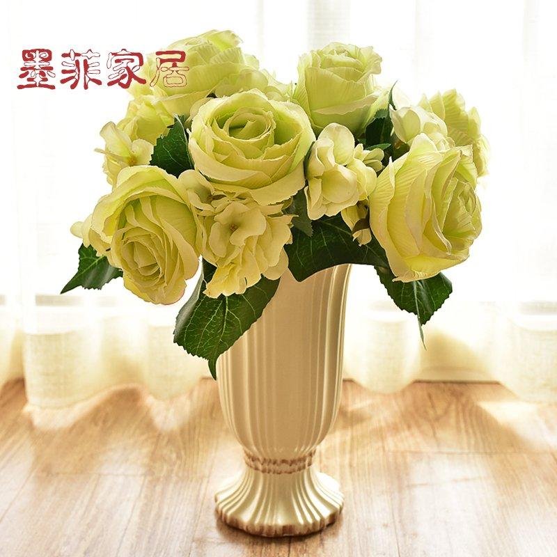 墨菲欧式陶瓷花瓶美式客厅餐桌家居装饰摆件仿真花鲜花水培插花器