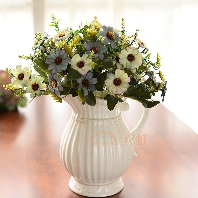 墨菲太阳小雏菊欧式仿真花现代客厅花瓶摆件客厅插花装饰品干花器-4束