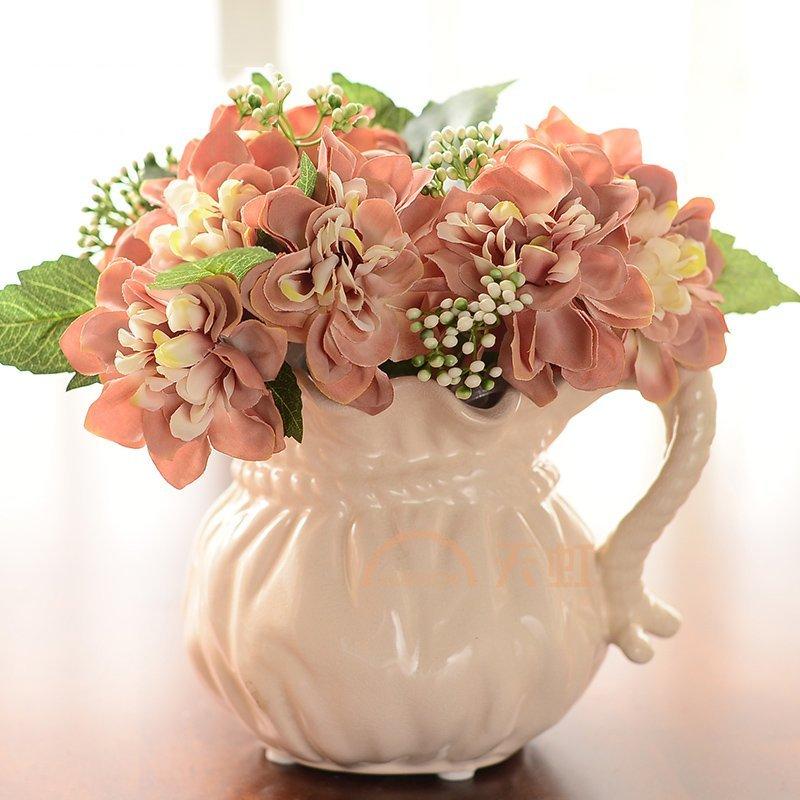 墨菲 欧式冰裂釉陶瓷花瓶花器摆件 现代简约创意插花假花花艺套装-2束