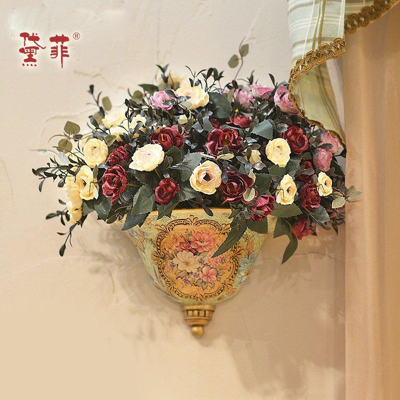 欧式壁挂花艺 插花瓶壁饰挂件田园墙上挂饰墙壁装饰