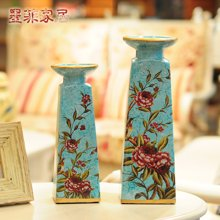 香啼西岸 欧式摆件创意陶瓷家居装饰工艺品烛台摆设 一对价