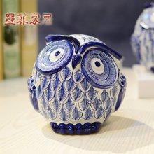 墨菲 现代中式新古典猫头鹰青花陶瓷摆件 客厅卧室电视柜家居饰品