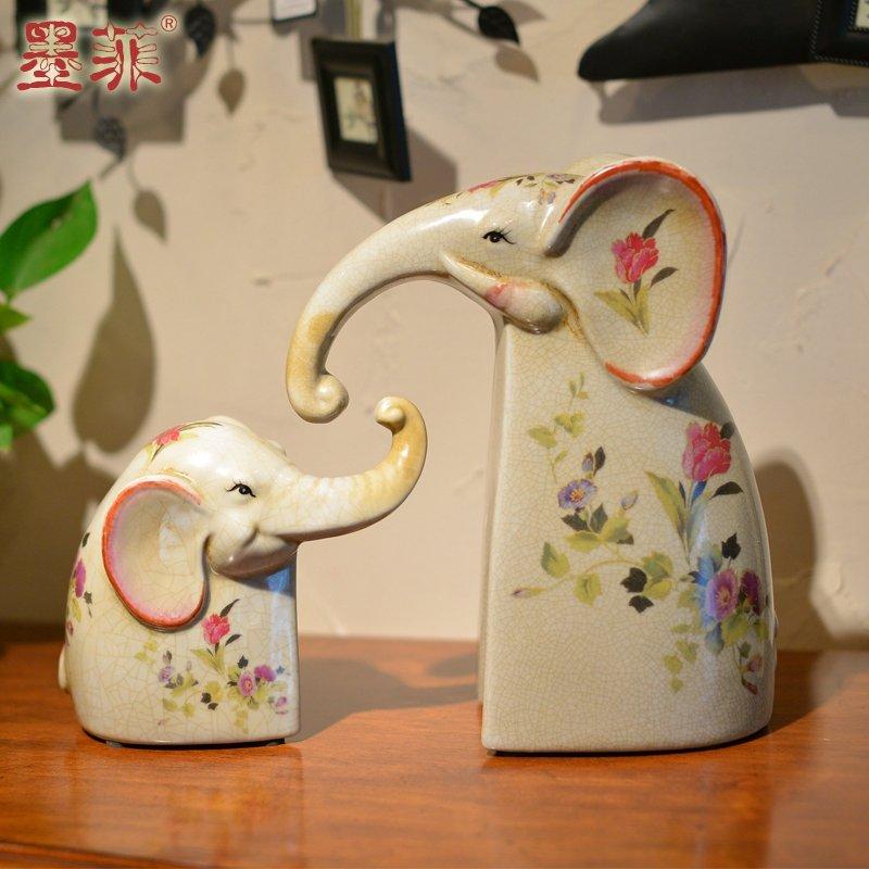 欧式复古裂纹陶瓷母子大象现代简约创意客厅婚庆家居装饰品摆件-母子