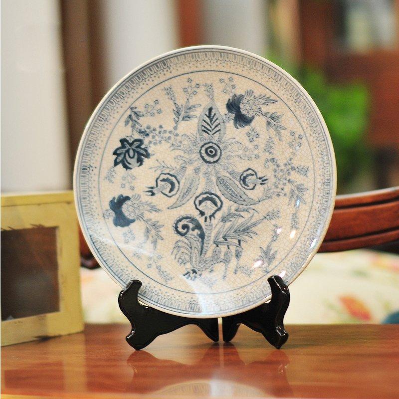 古蓝韵 时尚创意装饰摆件青花瓷家居饰品裂纹陶瓷客厅摆设三件套-摆盘