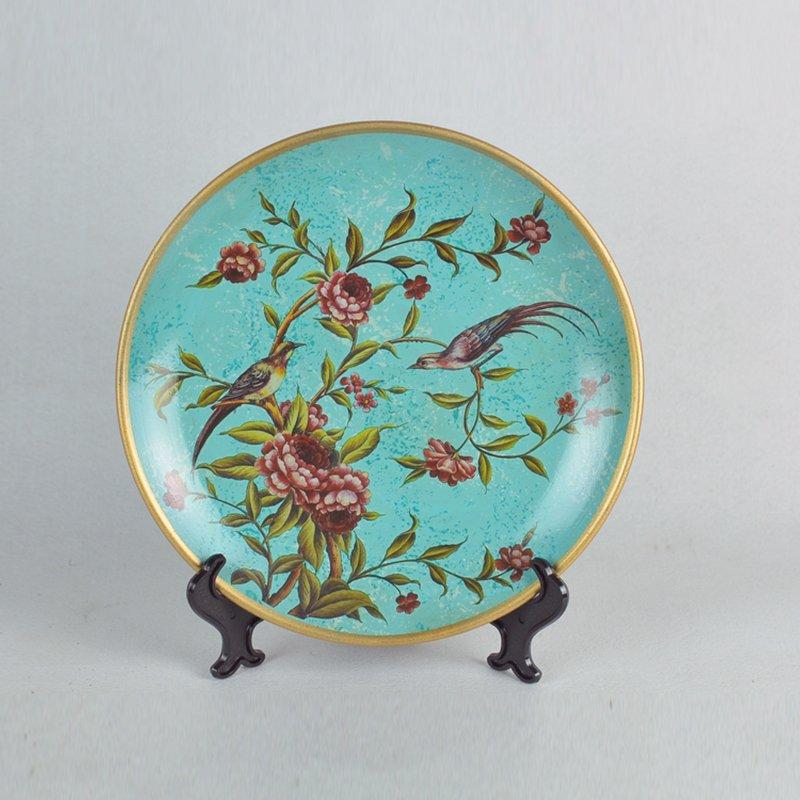 欧式摆件 家居饰品创意陶瓷彩绘摆盘花器居家装饰