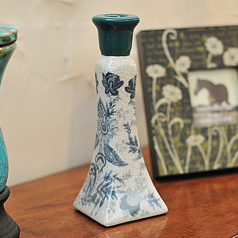古蓝韵 时尚创意装饰摆件青花瓷家居饰品裂纹陶瓷客厅摆设三件套-烛台