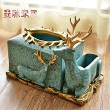 墨菲欧式麋鹿装饰纸巾盒美式客厅茶几餐厅抽纸盒样板房间家居摆件