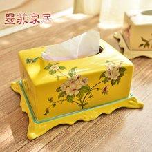 墨菲 美式乡村陶瓷纸巾盒欧式田园客厅餐厅卧室装饰抽纸盒摆件