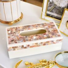 墨菲 欧式创意贝壳纸巾盒抽纸盒 美式客厅卧室床头桌面餐巾纸盒