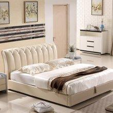 皇家爱慕欧式简约时尚真皮白色双人大床