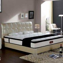 皇家爱慕现代简约时尚格子设计白色真皮大床