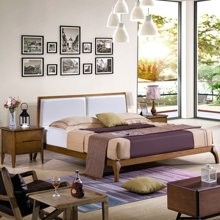 皇家爱慕北欧卧室双人实木婚床简约1.5米 1.8米带软靠白蜡木皮床