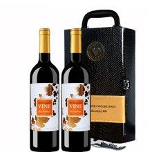 限时特惠澳洲原瓶进口红酒 魔幻葡叶干红葡萄酒 双支礼盒装(送礼)