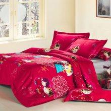 米卡多婚庆四件套大红全棉贡缎公仔娃娃结婚床上用品纯棉1.8m床品