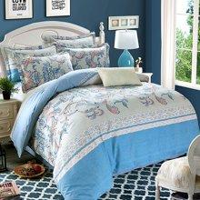 VIPLIFE高端全棉活性印加厚花磨毛纯棉四件套床单被套