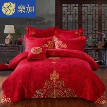 乐加家纺 新品 婚庆大红色绣花四件套结婚被套提花六件套1.8m床上用品套件-凤凰台