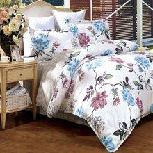 富安娜家纺 全涤磨毛斜纹印花床单被套四件套1.5M床适用 花香百媚