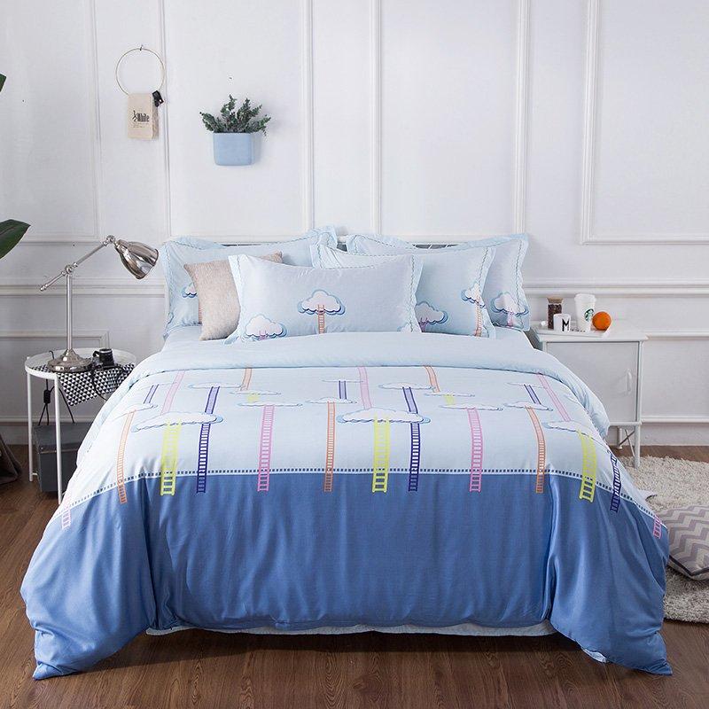 羽芯家纺 天丝亲肤四件套床单款-1.8m(6英尺)床-漫步云端