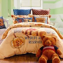 雅兰家纺 儿童四件套 全棉磨毛套件 卡通泰迪熊床单床笠款 泰迪萌宠 磨毛 纯棉四件套