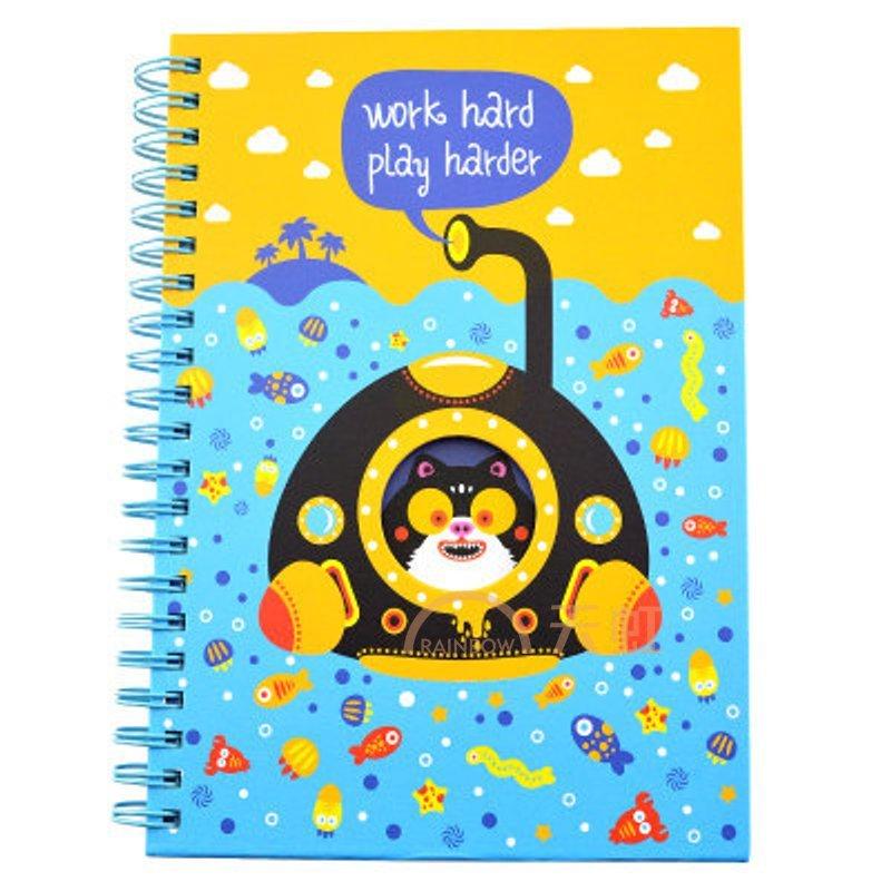可爱卡通b6线圈本小学生日记本笔记本-浓黄色/木精蓝