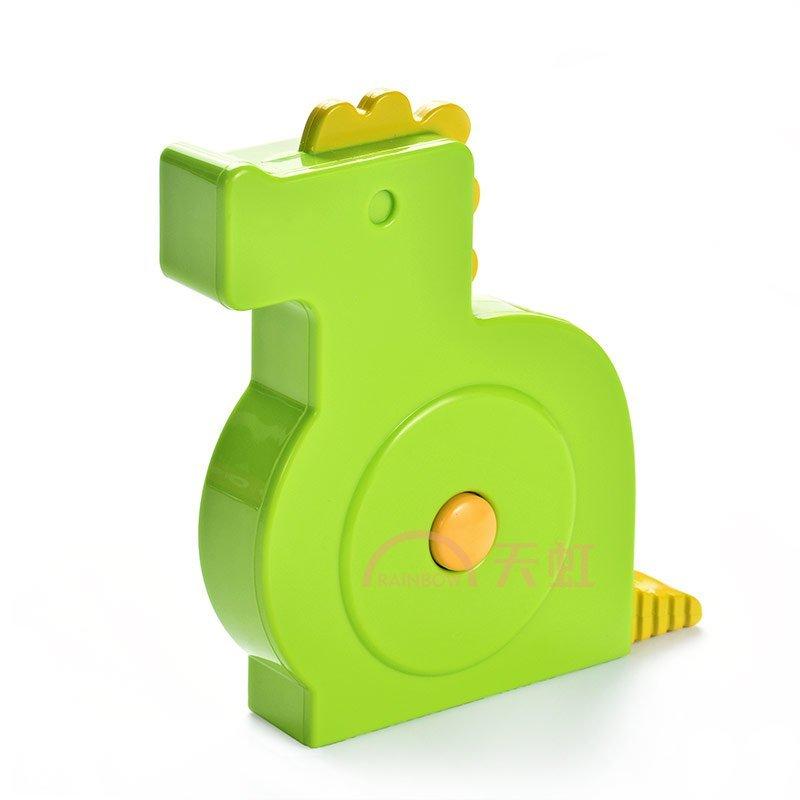 可爱卡通动物造型皮尺 三围小软尺量衣尺-荧光绿-恐龙款-150cm/60in