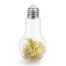 上品汇创意回形针灯泡收纳瓶桌面办公彩色别针透明造型摆件礼品物