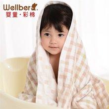 威尔贝鲁 婴儿纱布浴巾 宝宝浴巾纯棉新生儿童大毛巾被加厚吸水