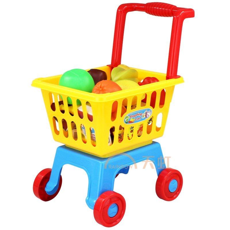 小才童大号购物车超市手推车玩具幼儿园41件套过家家玩具蔬菜水果套装