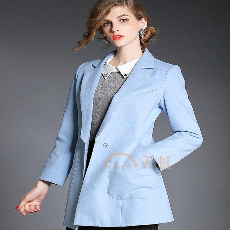 薇语馨 7757 欧美时尚潮流呢子女式外套-浅蓝色-l