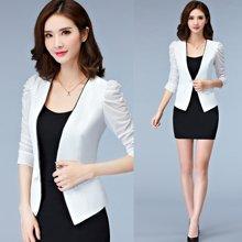 亿族 2018春夏装新款韩版修身七分袖西服短款女装薄外套小西装女