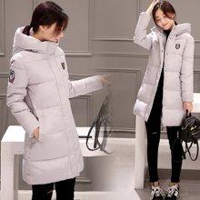 绮娑 冬季新款韩版修身加厚棉衣连帽中长款女保暖羽绒棉服外套