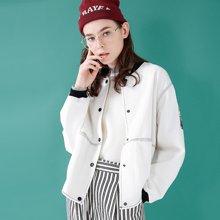 初语2018年春装新款白色休闲棒球服女薄款短外套宽松短款外套女潮8811402005