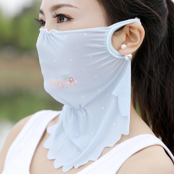 修允菲春夏新款女士花朵刺繡波點戶外冰絲防塵防曬口罩RKZ-5267