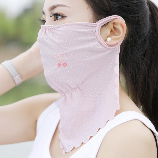 修允菲夏季新款波浪邊冰絲加大護頸水果刺繡防塵防曬口罩RKZ-5280