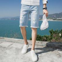 魔力怪车 2018夏季新款韩版破洞牛仔五分裤修身男士青少年牛仔裤短裤