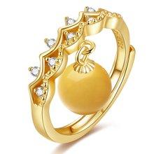 金兴福  浪漫法式 S925银镶琥珀蜜蜡戒指(附证书)