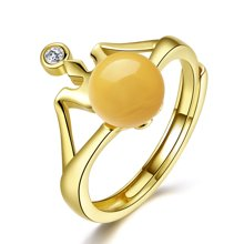 金兴福 皇冠 S925银镶琥珀蜜蜡开口戒指(附证书)